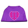 Mirage Pet Products Argyle Heart Pink Screen Print Shirt Purple XS (8)