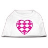 Mirage Pet Products Argyle Heart Pink Screen Print Shirt White XL (16)