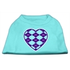 Mirage Pet Products Argyle Heart Purple Screen Print Shirt Aqua XXL (18)