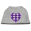 Mirage Pet Products Argyle Heart Purple Screen Print Shirt Grey XS (8)