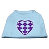 Mirage Pet Products Argyle Heart Purple Screen Print Shirt Baby Blue XS (8)