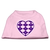Mirage Pet Products Argyle Heart Purple Screen Print Shirt Light Pink XXL (18)