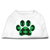 Mirage Pet Products Argyle Paw Green Screen Print Shirt White XL (16)