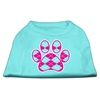 Mirage Pet Products Argyle Paw Pink Screen Print Shirt Aqua Lg (14)