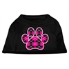 Mirage Pet Products Argyle Paw Pink Screen Print Shirt Black XXXL (20)