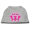 Mirage Pet Products Argyle Paw Pink Screen Print Shirt Grey Med (12)