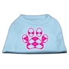 Mirage Pet Products Argyle Paw Pink Screen Print Shirt Baby Blue Sm (10)