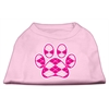 Mirage Pet Products Argyle Paw Pink Screen Print Shirt Light Pink Med (12)