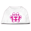 Mirage Pet Products Argyle Paw Pink Screen Print Shirt White S (10)