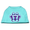 Mirage Pet Products Argyle Paw Purple Screen Print Shirt Aqua Lg (14)