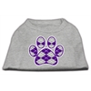 Mirage Pet Products Argyle Paw Purple Screen Print Shirt Grey XS (8)