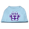 Mirage Pet Products Argyle Paw Purple Screen Print Shirt Baby Blue Lg (14)