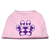 Mirage Pet Products Argyle Paw Purple Screen Print Shirt Light Pink Lg (14)