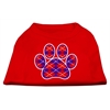 Mirage Pet Products Argyle Paw Purple Screen Print Shirt Red Med (12)