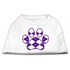 Mirage Pet Products Argyle Paw Purple Screen Print Shirt White XXL (18)