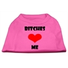 Mirage Pet Products Bitches Love Me Screen Print Shirts Bright Pink XXXL (20)