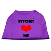 Mirage Pet Products Bitches Love Me Screen Print Shirts Purple Med (12)