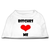 Mirage Pet Products Bitches Love Me Screen Print Shirts White XL (16)