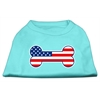 Mirage Pet Products Bone Shaped American Flag Screen Print Shirts  Aqua XXL (18)