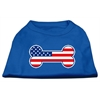 Mirage Pet Products Bone Shaped American Flag Screen Print Shirts Blue Lg (14)