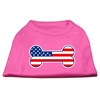 Mirage Pet Products Bone Shaped American Flag Screen Print Shirts  Bright Pink XXXL(20)