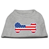 Mirage Pet Products Bone Shaped American Flag Screen Print Shirts  Grey XS (8)