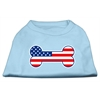 Mirage Pet Products Bone Shaped American Flag Screen Print Shirts  Baby Blue XS (8)