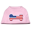 Mirage Pet Products Bone Shaped American Flag Screen Print Shirts  Light Pink XS (8)