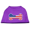 Mirage Pet Products Bone Shaped American Flag Screen Print Shirts  Purple XS (8)
