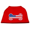 Mirage Pet Products Bone Shaped American Flag Screen Print Shirts  Red XXXL(20)