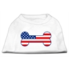 Mirage Pet Products Bone Shaped American Flag Screen Print Shirts  White XL (16)