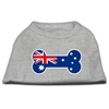 Mirage Pet Products Bone Shaped Australian Flag Screen Print Shirts Grey XXXL(20)