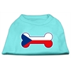 Mirage Pet Products Bone Shaped Czech Republic Flag Screen Print Shirts Aqua XXXL(20)