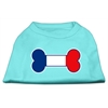 Mirage Pet Products Bone Shaped France Flag Screen Print Shirts Aqua XXXL(20)