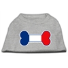 Mirage Pet Products Bone Shaped France Flag Screen Print Shirts Grey XS (8)