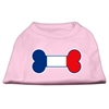 Mirage Pet Products Bone Shaped France Flag Screen Print Shirts Light Pink XXXL(20)
