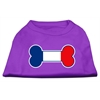 Mirage Pet Products Bone Shaped France Flag Screen Print Shirts Purple XS (8)