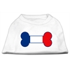 Mirage Pet Products Bone Shaped France Flag Screen Print Shirts White S (10)