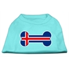 Mirage Pet Products Bone Shaped Iceland Flag Screen Print Shirts Aqua XXXL(20)