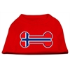 Mirage Pet Products Bone Shaped Norway Flag Screen Print Shirts Red XS (8)