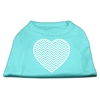 Mirage Pet Products Chevron Heart Screen Print Dog Shirt Aqua XXL (18)