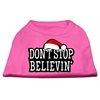 Mirage Pet Products Don't Stop Believin' Screenprint Shirts Bright Pink XXL (18)