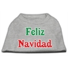 Mirage Pet Products Feliz Navidad Screen Print Shirts Grey XXXL(20)