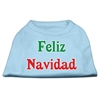 Mirage Pet Products Feliz Navidad Screen Print Shirts Baby Blue XXXL(20)