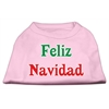 Mirage Pet Products Feliz Navidad Screen Print Shirts Light Pink XXXL(20)