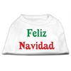 Mirage Pet Products Feliz Navidad Screen Print Shirts White XXXL(20)