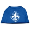 Mirage Pet Products Henna Fleur de Lis Screen Print Shirt Blue XS (8)
