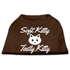 Mirage Pet Products Softy Kitty, Tasty Kitty Screen Print Dog Shirt Brown XXL (18)