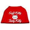 Mirage Pet Products Softy Kitty, Tasty Kitty Screen Print Dog Shirt Red XS (8)