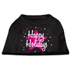 Mirage Pet Products Scribble Happy Holidays Screenprint Shirts Black XS (8)